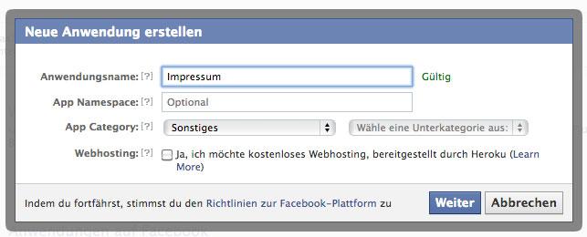 FAcebook Impressum per i-frame einbinden