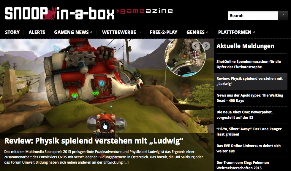 snoop in a box - onlinemagazin games - WordPress Website mit Charakter