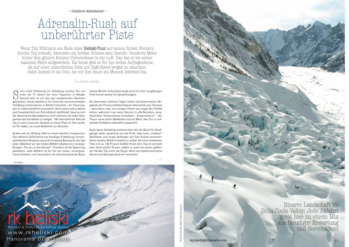 Veröffentlichung Andrea Härtlein - Heli Skiing im Bella Coola Valley